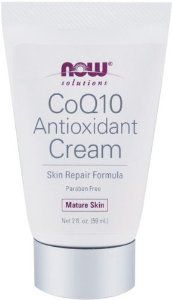 NOW Foods CoQ10 Antioxidant Cream, Mature Skin,, 2-Fluid Ounces by Now Foods. $12.00. Mature Skin. Paraben and Gluten Free. Skin Repair Formula. Condition:  Skin in need of high potency antioxidants, to aid in the repair of damaged skin and to create a healthy water/oil balance to naturally nourish skin.  Solution:  CoQ10 Antioxidant Cream is infused with GABA to help relax the appearance of smile and frown lines. Vitamin A, Hyaluronic Acid, L-Carnosine, and doubl...