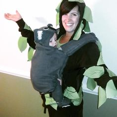 Tree and koala babywearing costume. Baby carrier costume!