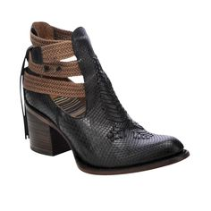 Black python leather Corral ankle boot with braided strap detail. | King Ranch Saddle Shop