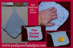 Posh Pooch Designs Dog Clothes: Free Crochet Pattern - Washcloth with Pocket
