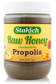 Stakich Bee Pollen enriched Raw Honey consists of pure Kosher certified Raw Honey enriched with all natural Propolis.  It is 100% all natural, unheated, unprocessed and unfiltered. We make every effort to ensure that all of its naturally occurring enzymes, amino acids, vitamins and minerals are fully preserved. The beehives are kept in unsprayed and pesticide-free fields in rural Michigan, allowing honey bees to collect only the finest nectar from wildflowers.