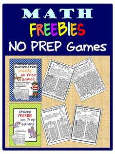 FREEBIES - Fun Games 4 Learning: More NO PREP Math Games - Print and Play games for multiplication and division
