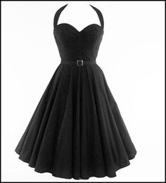 Image of 50s STYLE BLACK PIN-UP SWING DRESS - FOR GALS WITH CURVES!