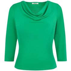 Precis Petite Crepe Jersey Cowl Neck ($39) ❤ liked on Polyvore featuring tops, clearance, emerald, petite, 3/4 length sleeve tops, drape top, petite tops, three quarter sleeve tops and jersey tops