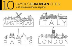 10 European Cities Linear Skyline Graphics This set contain 10 Famous City Skylines and 3 varitions of each city. Each city has a simple black by Avny Business Illustration, Pencil Illustration, Business Brochure, Business Card Logo, Stick N Poke, Logos Retro, City Drawing, Usa Cities, Diy Tattoo