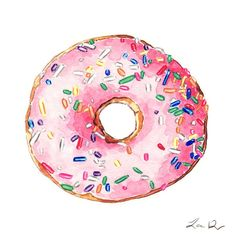 Pink Donut Print featuring the painting Pink Donut With Sprinkles by Laura Row || #Prints available on Pixels || http://pixels.com/products/pink-donut-with-sprinkles-laura-row-art-print.html