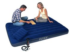 78.00$  Buy now - http://ali2vb.worldwells.pw/go.php?t=32374144775 - INTEX 152*203*22CM double plus size air mattress set 68765 inflatable bed,camping mattress, including air pump, 2 pc air pillow 78.00$