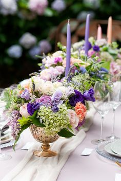 Watercolour garden wedding reception centrepiece | Liesl Cheney Photography | See more: http://theweddingplaybook.com/watercolour-garden-wedding-inspiration/