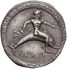 Statere - argento - Taras (Taranto) (500-490 a.C.) TARAΣ giovane cavalca un delfino vs.dx. nella mano tiene una piovra (octopus) - Münzkabinett Berlin