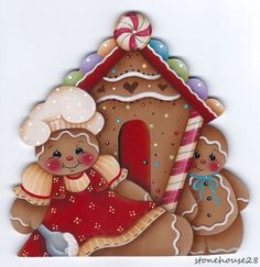 HP GINGERBREAD Mom and Baby w/Gingerbread House FRIDGE MAGNET