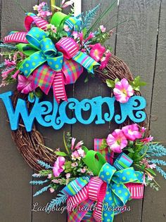 Your place to buy and sell all things handmade, Spring+Welcome+Grapevine+Wreath+Summer+by+LadybugWreathDesigns. Wreath Crafts, Diy Wreath, Grapevine Wreath, Wreath Ideas, Twine Wreath, Fabric Wreath, Easter Wreaths, Holiday Wreaths, Summer Wreath