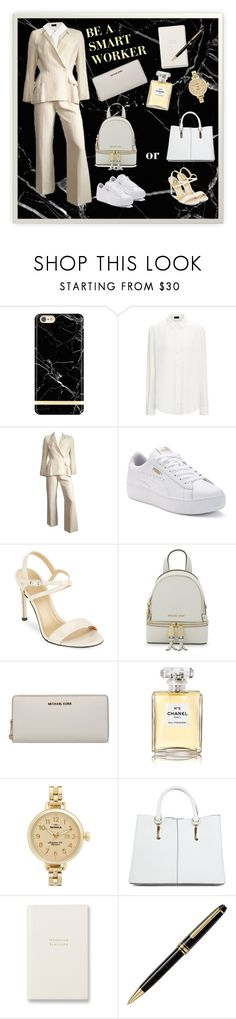 """Be a smart worker"" by perfectmiracle ❤ liked on Polyvore featuring Thierry Mugler, Puma, Stuart Weitzman, MICHAEL Michael Kors, Michael Kors, Chanel, Shinola, New Look, Smythson and Montblanc"
