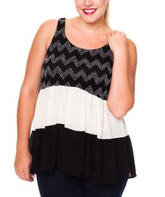 Look at this Black & Ivory Tiered Swing Tank - Plus on #zulily today!