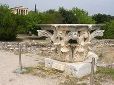 Corinthian Capital (by Mark Cartwright) -- A corinthian capital, situated in the Agora of Athens. Classical Architecture, Architecture Plan, Ancient Architecture, Amazing Architecture, Greece Mythology, History Encyclopedia, House Map, Small Buildings, Ancient Greece