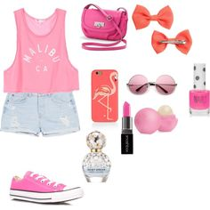 Pink look by veronikimiki on Polyvore featuring polyvore, мода, style, MANGO, Converse, Rosetti, Kate Spade, H&M, Smashbox, Marc Jacobs, Eos and Topshop