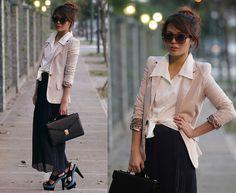 Beige blazer, white button-up, pleated maxi, fab heels.