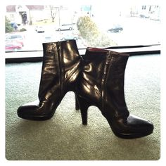 PRADA leather booties Really good condition. Authentic!! Real leather. Red leather on inside Prada Shoes Ankle Boots & Booties