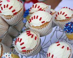 Baseball Theme Party Cupcakes