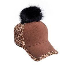 9e57818f23bca Warm Baseball Hat Dacawin Women Baseball Cap With Raccoon Fur Ball Brown    Want additional info