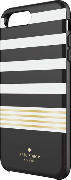 kate spade new york - Protective Hardshell Case for Apple® iPhone® 7 Plus - White/Gold foil/Stripe 2 black - Front Zoom