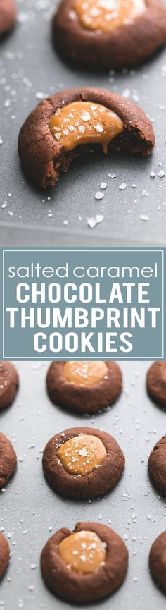 Salted Caramel Chocolate Thumbprint Cookies - these are soft, chewy, and simply melt in your mouth. | lecremedelacrumb.com