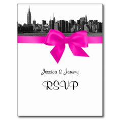 NYC Wide Skyline Etched BW Hot Pink RSVP 1 Post Card