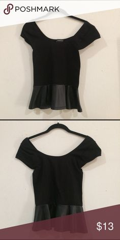 Bebe black flare top Nylon/ Spandex body- Polyester trim. Extremely flattering wide neck line, the perfect feminine twist to any outfit. Great condition. Fits like XS bebe Tops Blouses