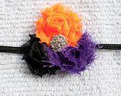 Black/Orange/Purple Trio Shabby Chiffon Flower on a Glitter Black Headband for Halloween, Infant, Baby, Toddler, Girl and Adult. $9.95, via Etsy.