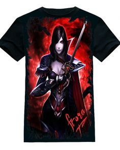 2015 novo League of Legends Fiora dos homens negros manga curta camiseta-
