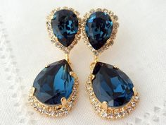 Navy blue Chandelier earrings Drop earrings by EldorTinaJewelry
