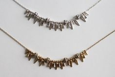 Fun to use in necklace stacking, the spike necklace has a texture and shine that make it stand out even when worn with other charm necklaces. It's combination o