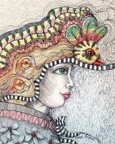 Cheryl Bridgart's 'Don't Look Back' 51x41cm free embroidery in thread only.