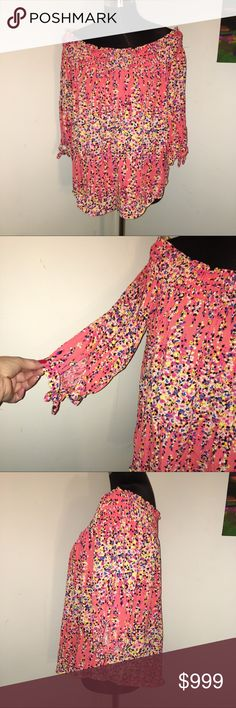 💟 COMING SOON 💟 PLEASE SHARE Colorful rayon peasant blouse. Flowy generous fit. Coral background with accents of yellow, royal, pink, black and white. 3/4 sleeves that tie at end and a elasticized neck line that can be worn on or off the shoulder. Measurements upon request. Smoke free. Bundle for further discount. Reasonable offers always welcome. 😊🛍 No Boundaries Tops