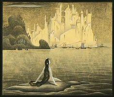 Original concept art for Disney's  version of Hans Christian Andersen The Little Mermaid, by Kay Nielsen