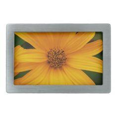Yellow Flower Rectangular Belt Buckles