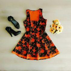 Vestido Barbie Floral Laranja!  Patris Boutique, prazer em vestir você!