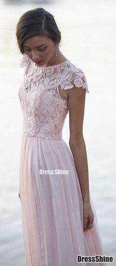 Elegant Floral chiffon lace with short sleeves modest long pink bridesmaid dress
