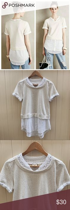 "Anthropologie Postmark Layered Eyelet Top Anthropologie Postmark Layered Eyelet Top. Cream Ivory. Bust measures 17.5"" and length measures 28"". Size Small. Great condition Anthropologie Tops"