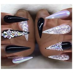 White chrome bling stiletto nails