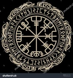 Illustration of Viking design, magical runic compass Vegvisir, in the circle of Norse runes and dragons. vector art, clipart and stock vectors. Viking Compass Tattoo, Viking Rune Tattoo, Runic Compass, Norse Tattoo, Celtic Tattoos, Viking Tattoos, Warrior Tattoos, Armor Tattoo, Wiccan Tattoos
