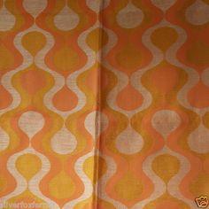VINTAGE RETRO 1960S / 70S orange funky CURTAINs