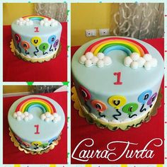 Rainbow and baloons cake fondant