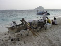 Bringing our equipment to a function on a deserted Island