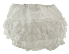 White Ruffled Diaper Cover for baby girl by Sarah Louise
