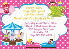 This amusement park bday invite is the one I want for Aubreys party this fall at Elise's Playhouse in Winnie! Super cute!!! :*)