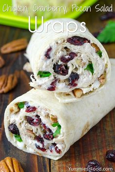 Chicken, Cranberry, Pecan Salad Wraps - a super lunch or wonderful addition! This salad is perfect for any occasion and very easy to make. Chicken, Cranberry, Pecan Salad Wraps - delicious and satisfying! Sandwich Recipes, Appetizer Recipes, Sandwich Ideas, Sandwich Bar, Sandwich Spread, Bread Recipes, Croissant Sandwich, Chicken Appetizers, Picnic Recipes