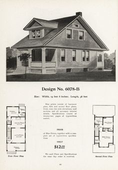 United States, Design No. A two-bedroom bungalow for a narrow lot. Radford's Artistic Bungalows by The Radford Architectural Company, (Chicago, IL, USA) Cottages And Bungalows, House Plans, Floor Plans, United States, The Unit, How To Plan, Architecture, Vintage, Home
