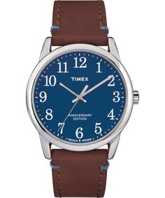 caba9d7f9855 Timex Easy Reader 40th Anniversary Special Edition (Silver-Tone Brown Blue)