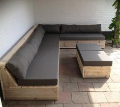 Lounge garden furniture & outdoor lounge furniture - lounge set with murry PolsterWayfair.de lounge set with murry PolsterWayfair. Outdoor Furniture Plans, Deck Furniture, Diy Pallet Furniture, Outdoor Sofa, Furniture Design, Outdoor Benches, Pallet Furniture Plans Step By Step, Rustic Furniture, Furniture Ideas
