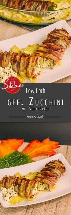 gefüllte Zucchini mit Feta-Käse Schafskäse im Baconmantel low carb glutenfrei by salala.de